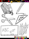 Cartoon school objects coloring page Royalty Free Stock Photography