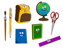 Cartoon school objects Royalty Free Stock Photography