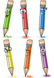 Cartoon school pencils, vector Stock Photos