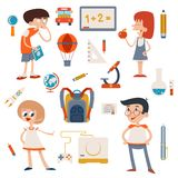 Cartoon School Retro Children Set Royalty Free Stock Image