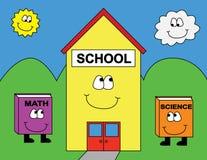 Cartoon School Scene. Colorful child like, cartoon  school image with walking books. Adobe Illustrator format available Royalty Free Stock Photography