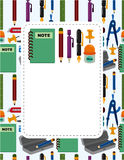 Cartoon school stationery card. Drawing Stock Photos