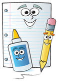 Cartoon School Supplies. Common school supplies drawn with cartoon faces Royalty Free Stock Photo