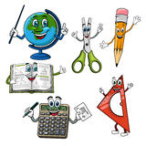 Cartoon school supplies and stationery characters Royalty Free Stock Images