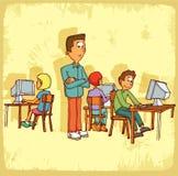 Cartoon school teacher illustration , vector icon. Royalty Free Stock Photos