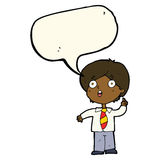 cartoon schoolboy answering question with speech bubble Royalty Free Stock Images