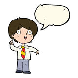 Cartoon schoolboy answering question with speech bubble stock illustration
