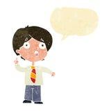 Cartoon schoolboy answering question with speech bubble vector illustration