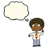 cartoon schoolboy answering question with thought bubble Royalty Free Stock Photo