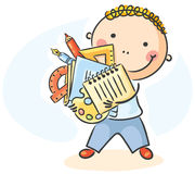 Cartoon schoolboy with lots of school things. A cartoon schoolboy with lots of school things Royalty Free Stock Photo