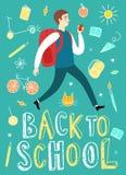 Cartoon schoolboy running with backpack Stock Photos