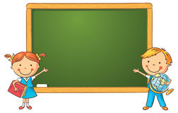 Cartoon Schoolchildren at the Blackboard Stock Photo