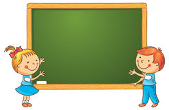 Cartoon Schoolchildren at the Blackboard Royalty Free Stock Photos