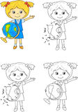 Cartoon schoolgirl with globe. Vector illustration. Coloring and Royalty Free Stock Photography