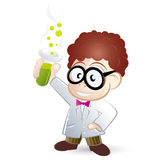 Cartoon Scientist. With big glasses, lab coat and test tube stock illustration