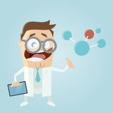 Cartoon scientist with big molecule and tablet Stock Photos