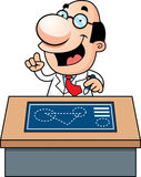 Cartoon Scientist Blueprints Royalty Free Stock Images