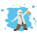 Cartoon scientist, doctor, professor with a flask Stock Image