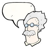 Cartoon scientist head with speech bubble Stock Images