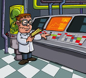 Cartoon scientist in his laboratory Stock Images