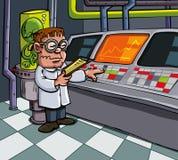 Cartoon scientist in his laboratory Stock Images