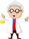 Cartoon scientist holding chemical flask stock illustration