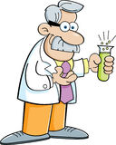 Cartoon scientist holding a test tube Royalty Free Stock Photography