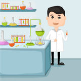 Cartoon of a scientist in laboratory. Royalty Free Stock Photography