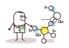 Cartoon scientist with molecule Stock Photography