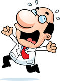 Cartoon Scientist Panicking. An illustration of a cartoon scientist running and panicking Royalty Free Stock Photography