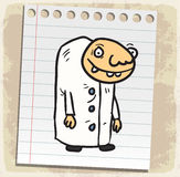 Cartoon  scientist on paper note, vector illustration Stock Photos