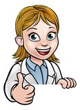 Thumbs Up Scientist Cartoon Character Sign stock illustration