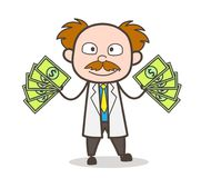 Cartoon Scientist Showing His Earning Vector Concept. Design Stock Photo