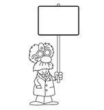 Cartoon Scientist with sign Stock Images