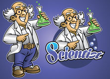 Cartoon of scientist wear the lab cloth Stock Photos