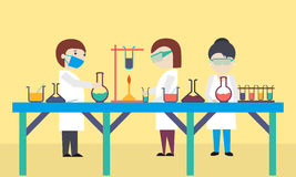 Cartoon of scientists in laboratory. Stock Photo