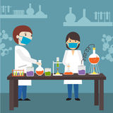 Cartoon of a scientists in laboratory. Royalty Free Stock Images