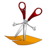 Cartoon scissors cut yellow paper Royalty Free Stock Images