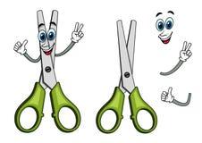 Cartoon scissors with victory gestures Stock Photo