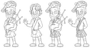 Cartoon scottish with bagpipe character vector set stock illustration