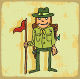 Cartoon scout illustration , vector icon. Stock Image