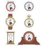 Cartoon screaming clock face smiles 09 Royalty Free Stock Images
