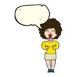 Cartoon screaming woman with speech bubble Stock Photos