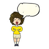 Cartoon screaming woman with speech bubble Stock Photo