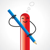 A Cartoon Scribbling Something with the  Pencil Royalty Free Stock Photo