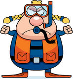 Cartoon Scuba Diver Angry Stock Photography