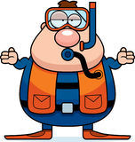 Cartoon Scuba Diver Confused Royalty Free Stock Image