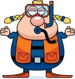 Cartoon Scuba Diver Confused Royalty Free Stock Photos