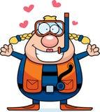 Cartoon Scuba Diver Hug. A cartoon scuba diver ready to give a hug Royalty Free Stock Images