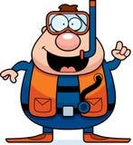 Cartoon Scuba Diver Idea. A cartoon scuba diver with an idea Stock Photos